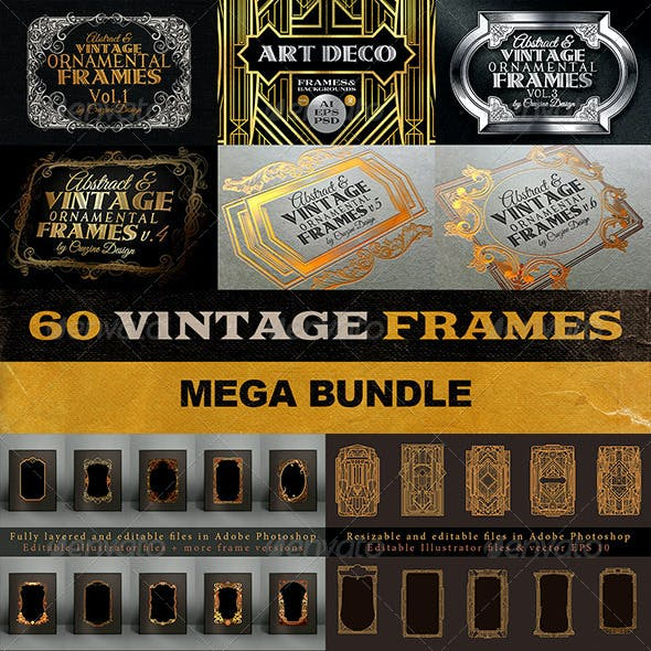 60 Vintage Frame Templates Bundle