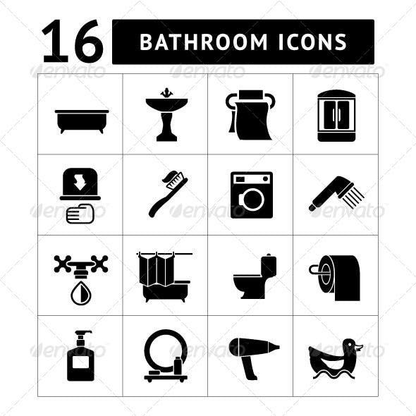 Set Icons of Bathroom and Toilet