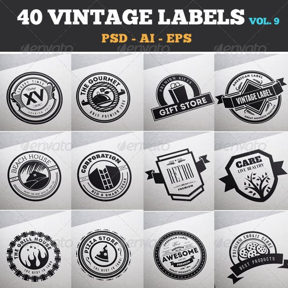 40 Vintage Labels & Badges / Logos / Insignias V9