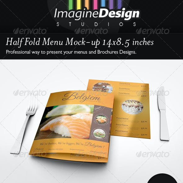 Half Fold Menu Mock-up 14x8.5 inches