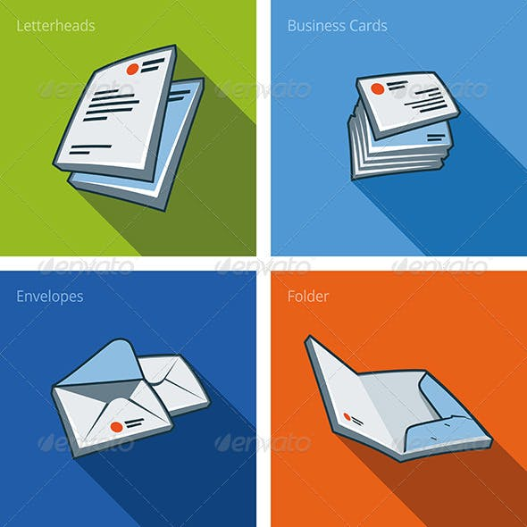 Icon Set of Letterheads and Business Cards