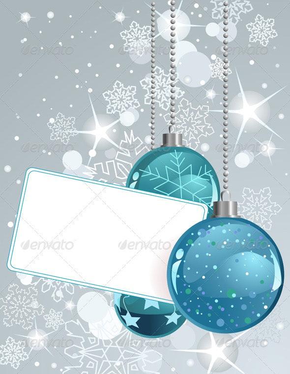 Blank  label with Christmas Balls - Christmas Seasons/Holidays