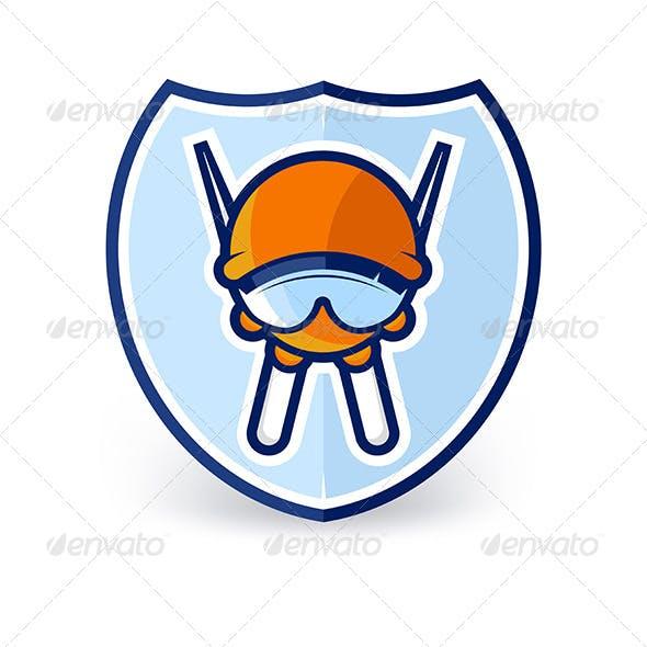 Cartoon Ski Character Label