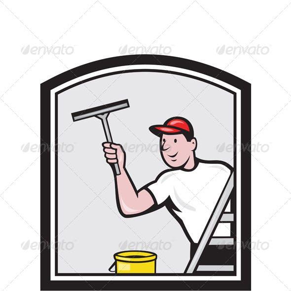Window Washer Cleaner Cartoon