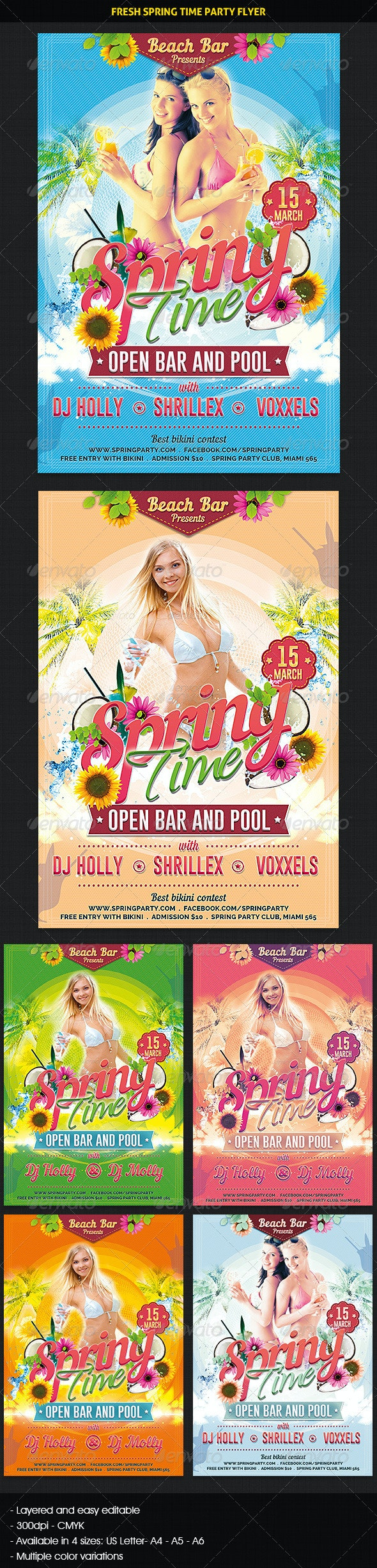 Fresh Spring Time Party Flyer - Clubs & Parties Events