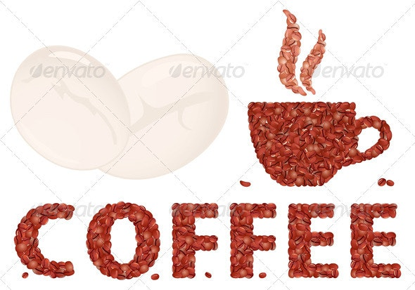 Coffee cup and Letter - Food Objects