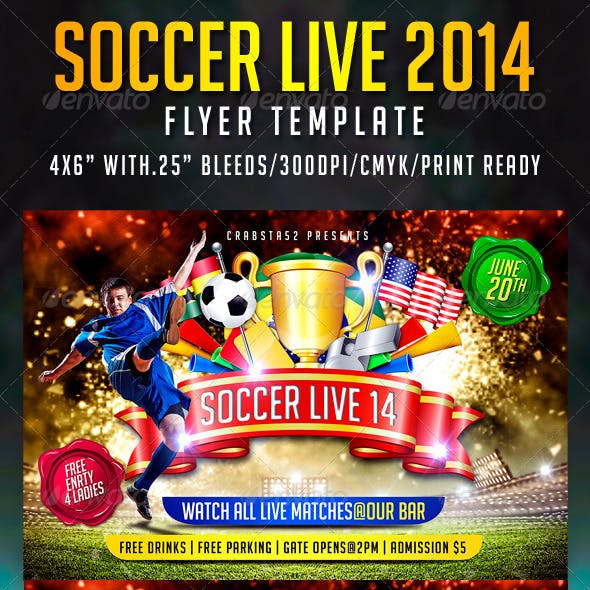 Soccer live 2014 Flyer Template