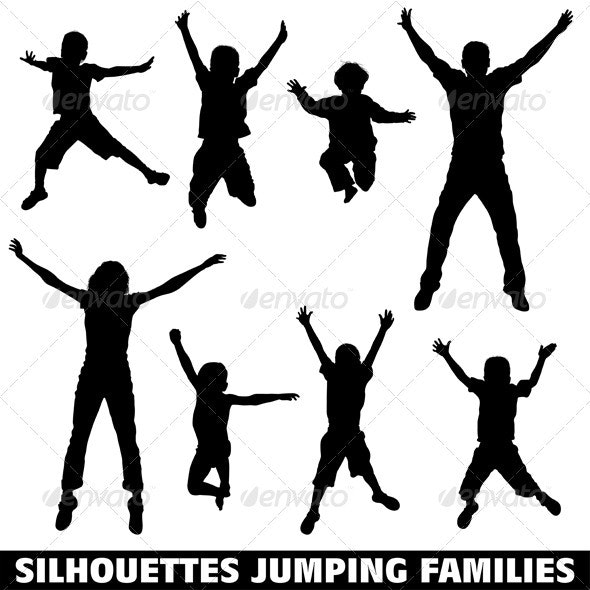 Silhouette happy jumping family - People Characters