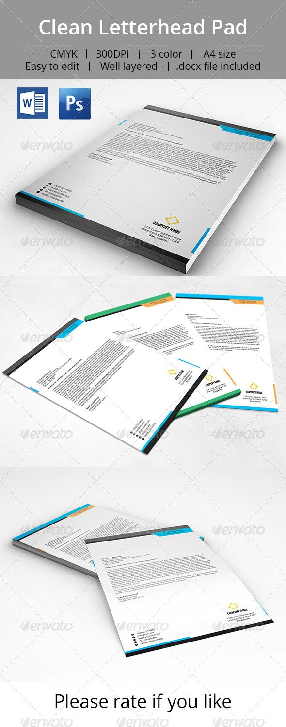 Clean Letterhead Pad With MS Word Doc - Stationery Print Templates