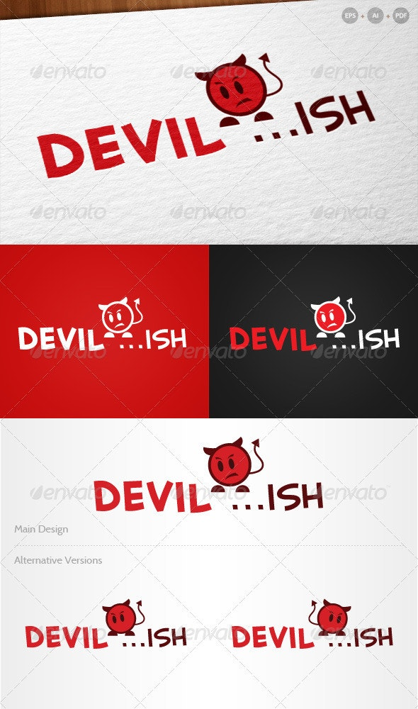 'Devilish' - Cute Devil Logo - Humans Logo Templates