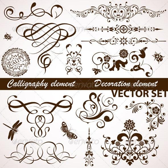 Calligraphic and Floral Element - Flourishes / Swirls Decorative