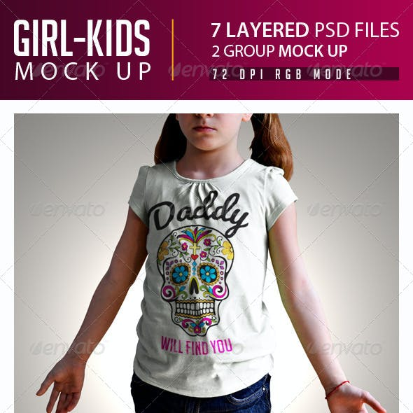 Girl Kids T-Shirt Mock Up