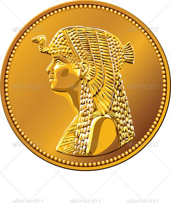 Vector Egyptian money, gold coin with Cleopatra - Man-made Objects Objects