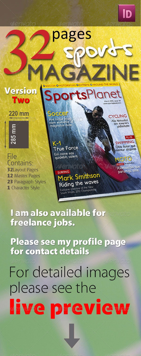 32 Pages Sports Magazine Version Two - Magazines Print Templates