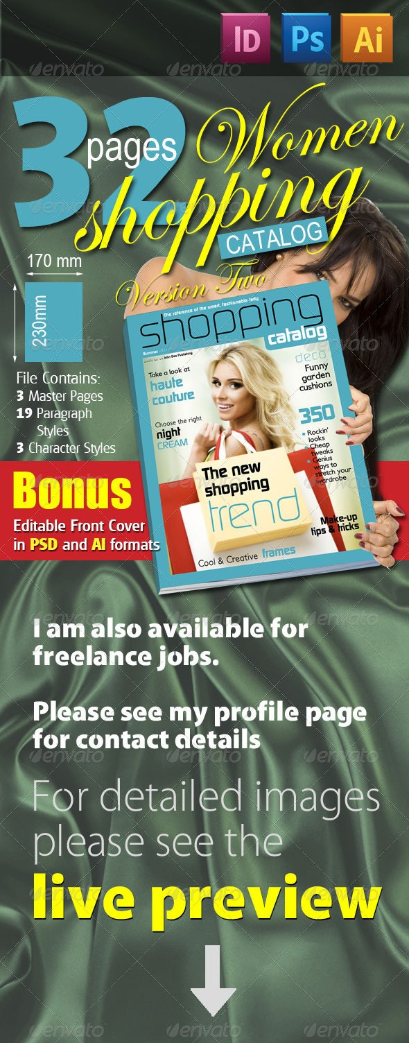 32 Pages Women Shopping Catalog Version Two - Magazines Print Templates