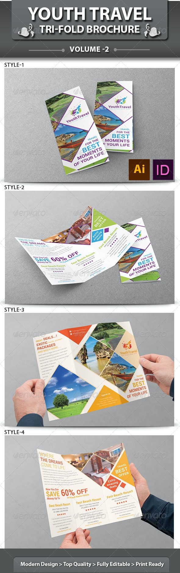 Travel Business Tri-fold Brochure | Volume 3 - Corporate Brochures