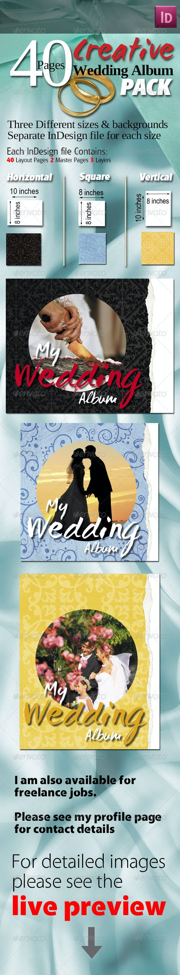 40 Pages Creative Wedding Albums Pack - Photo Albums Print Templates