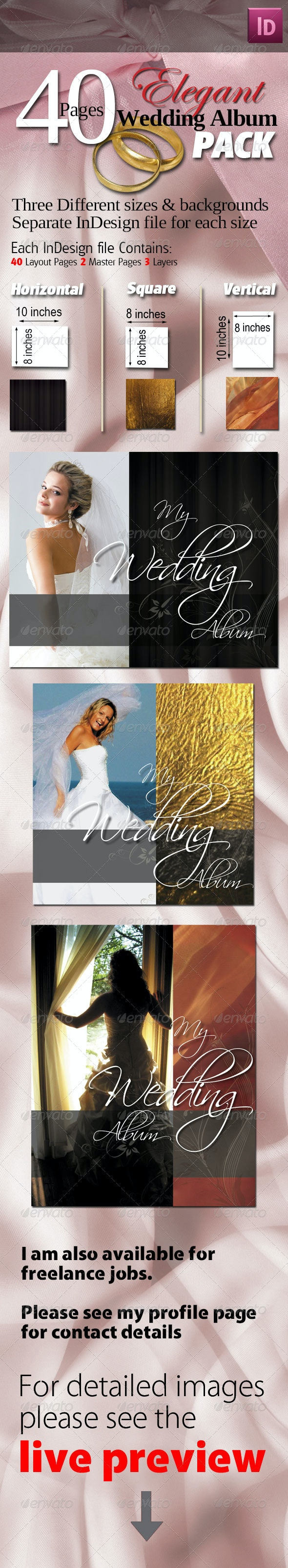 40 Pages Elegant Wedding Albums Pack - Miscellaneous Print Templates