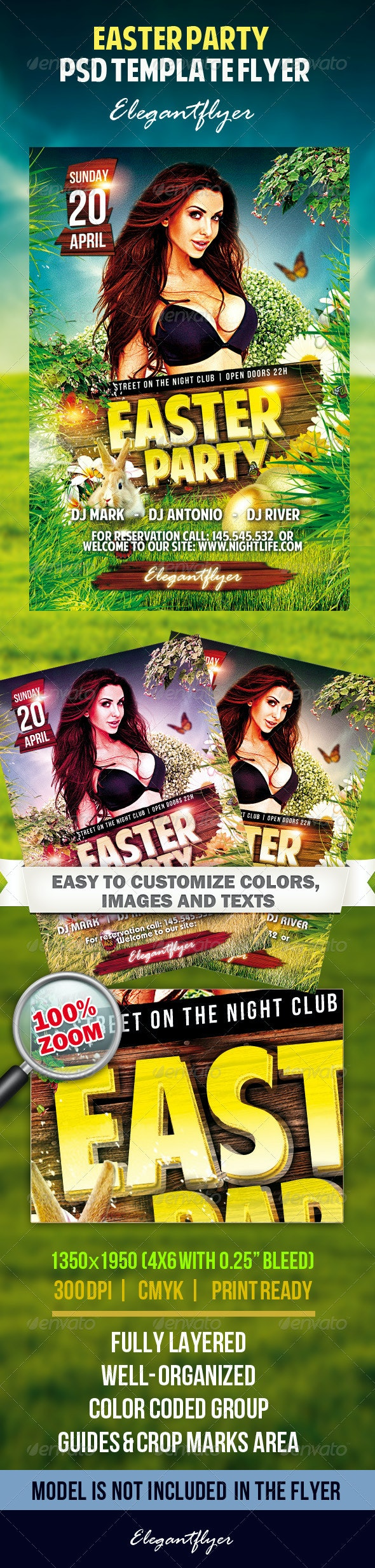 Easter Party - Flyer PSD Tempate - Clubs & Parties Events