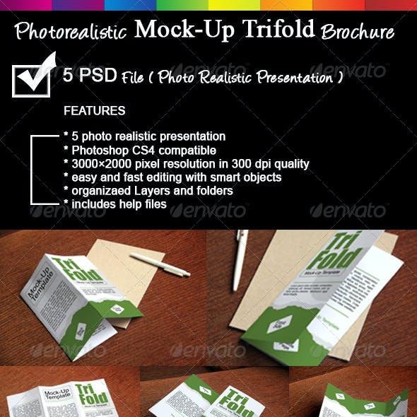 Photorealistic Trifold Brochure Mock-Up