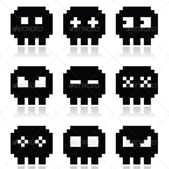 Pixelated 8bit Skull Vector Icon Set