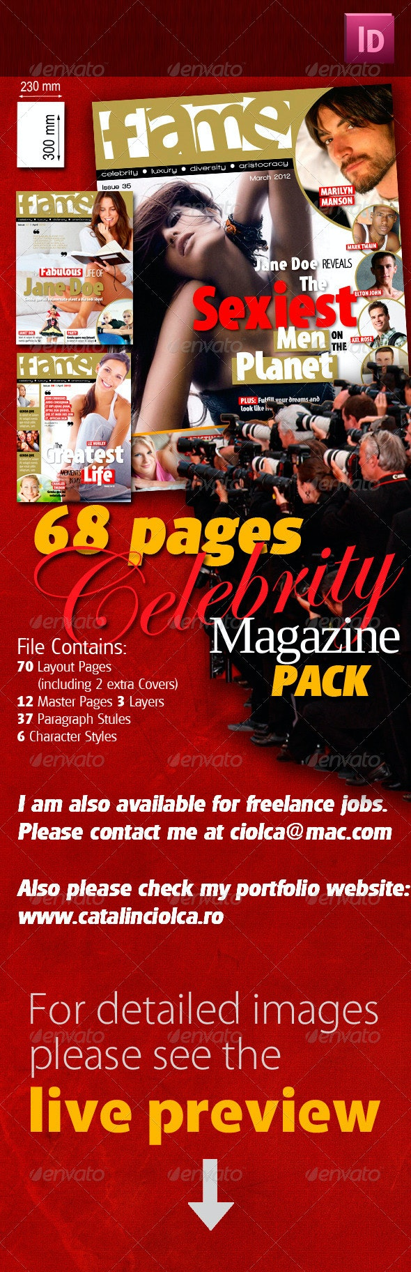 68 Pages Celebrity Magazine Pack - Magazines Print Templates