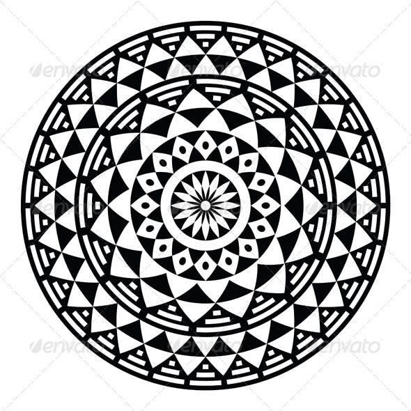 Tribal Aztec Geometric Pattern or Print in Circle