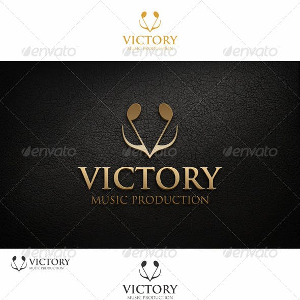 Victory Logo - Note Music Concept