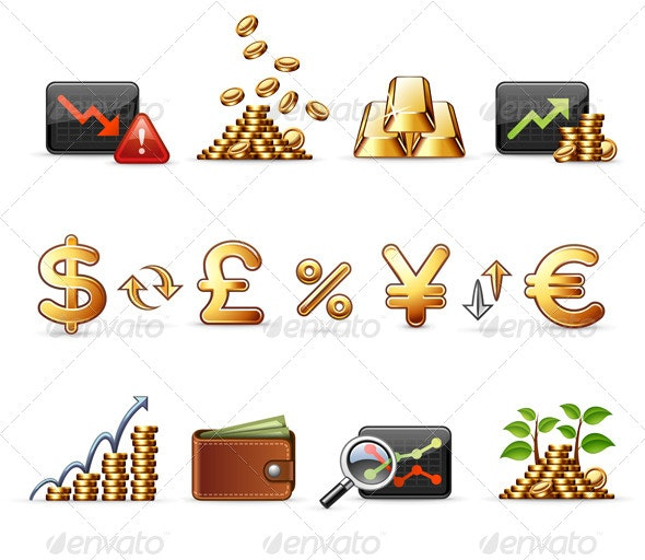 Finance, Money and Economy - Business Icons