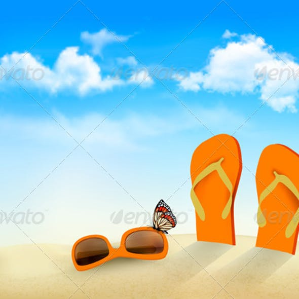 Flip Flops Sunglasses and a Butterfly on a Beach
