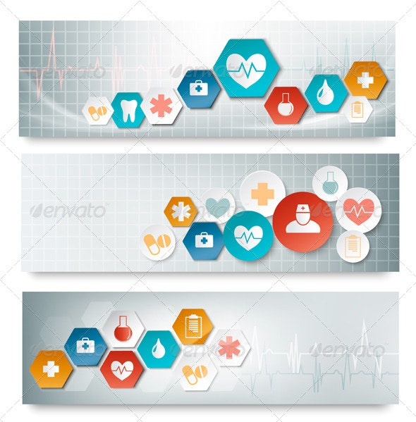 Three Medical Banners with Icons - Health/Medicine Conceptual