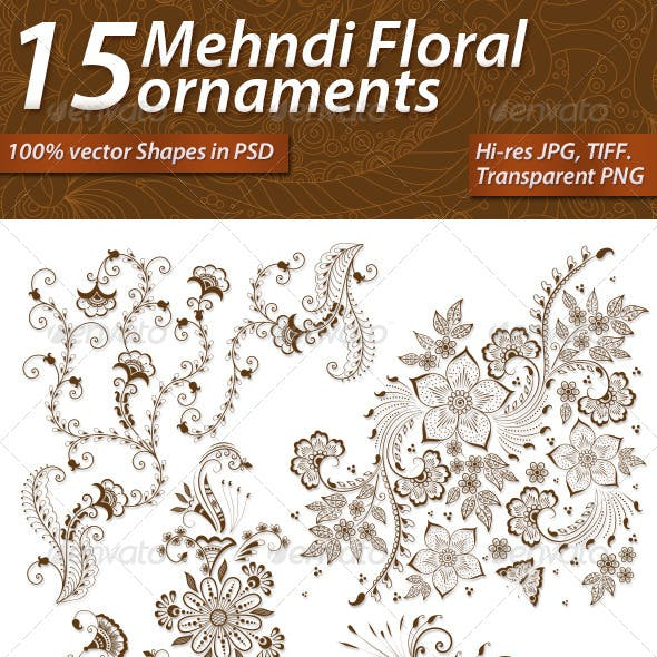 15 Mehndi Floral Ornaments Set#1