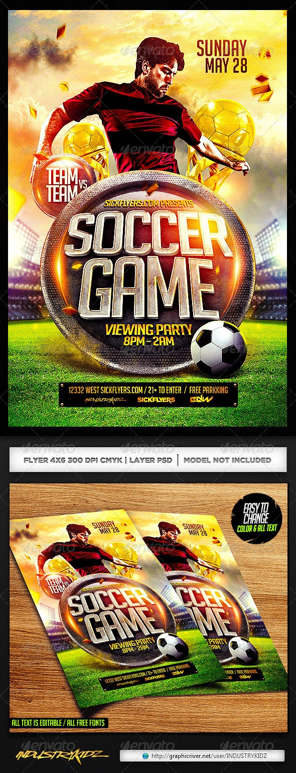 Soccer Flyer Template PSD - Sports Events