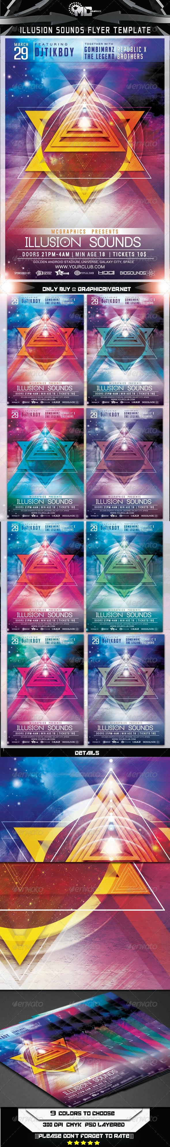 Illusion Sounds Flyer Template - Clubs & Parties Events