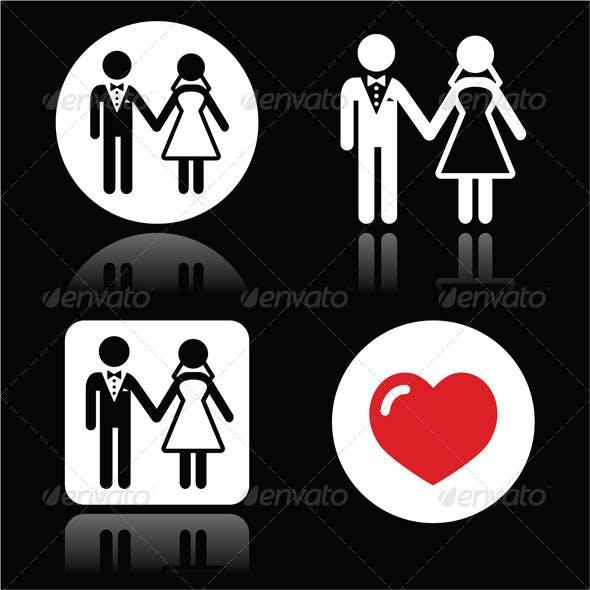 Wedding Married Couple Icons