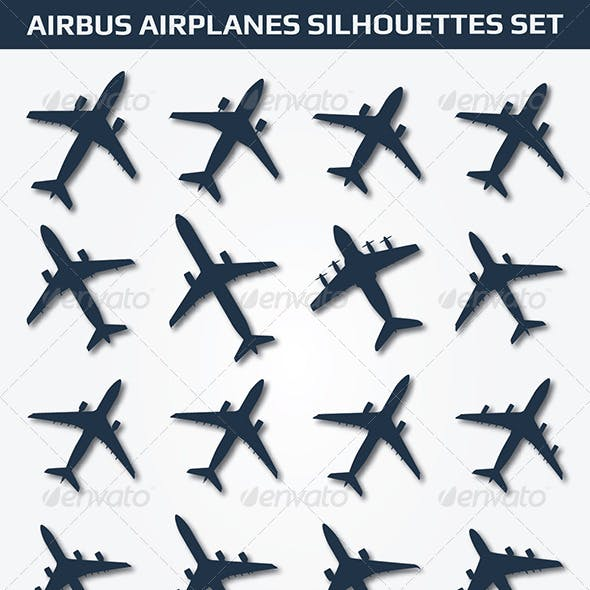 Airbus Airplanes Silhouettes Set