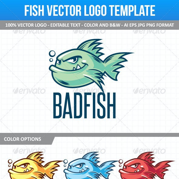 Fish Mascot Vector Logo Template