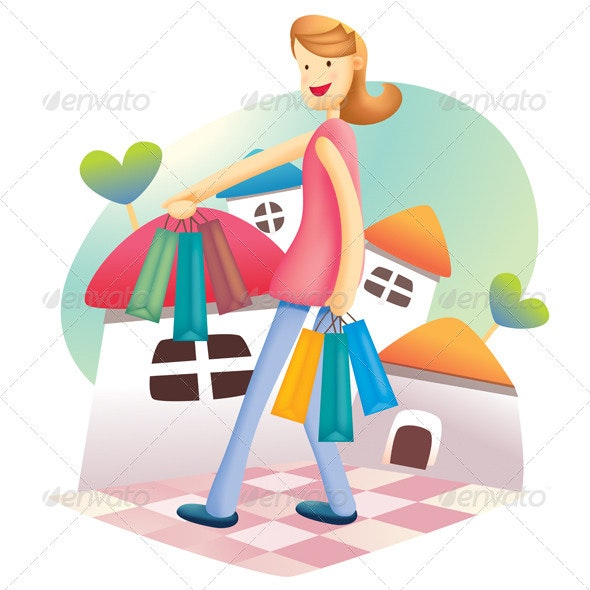 Cute Shopping Girl - People Characters