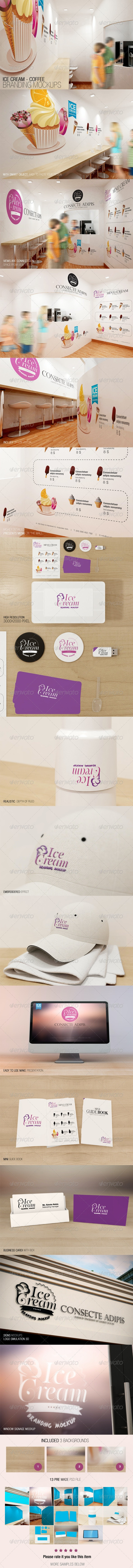 Ice Cream - Coffee Branding Mockups - Logo Product Mock-Ups