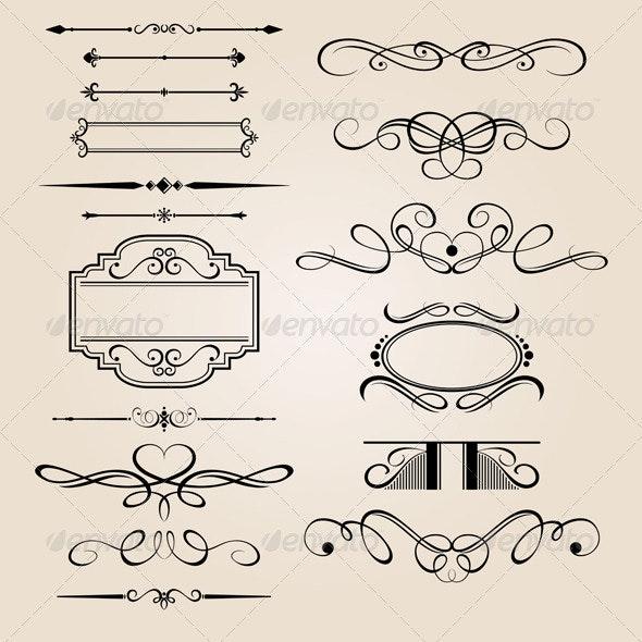 Vector Set Border Design Element - Borders Decorative