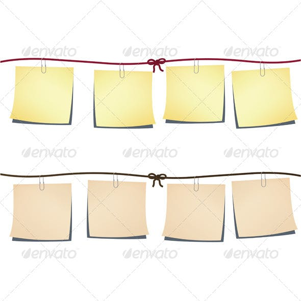 Set of Note-Papers on a Rope