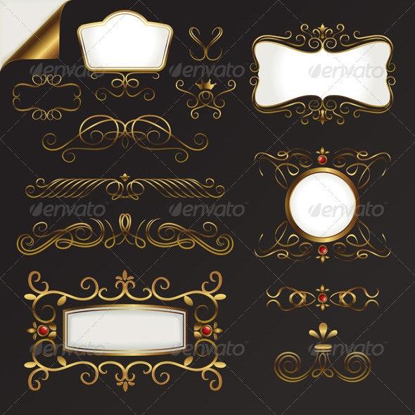 Gold Border Element Vector Set - Borders Decorative