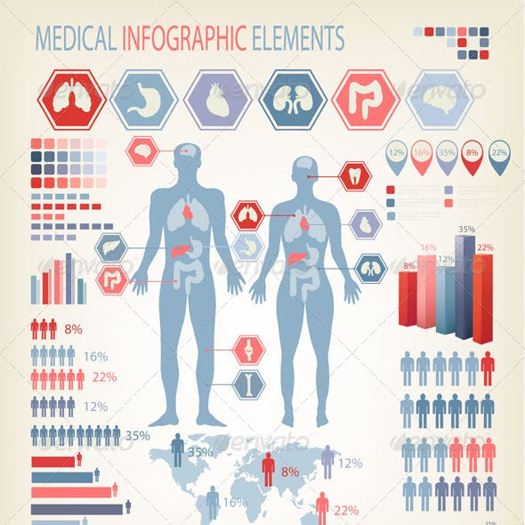 Big Set of Flat Medical Infographic Elements.