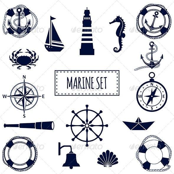 Set of Flat Marine Icons