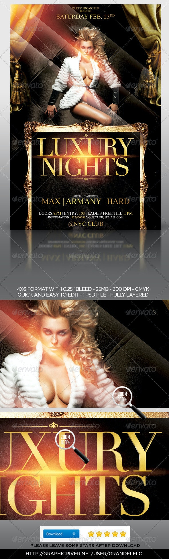 The Luxury Nights Flyer Template - Clubs & Parties Events