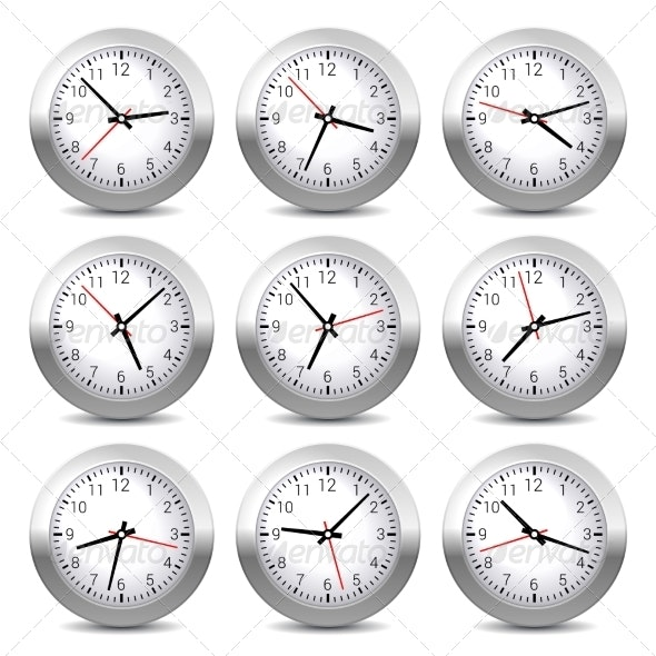 Wall Clock Set on White Background. Vector. - Buildings Objects