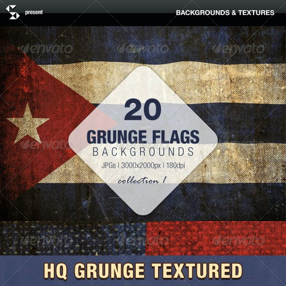 Grunge Flags - 20 countries around the world