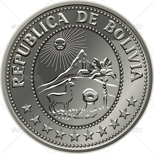 Bolivian money silver coin centavo fifty
