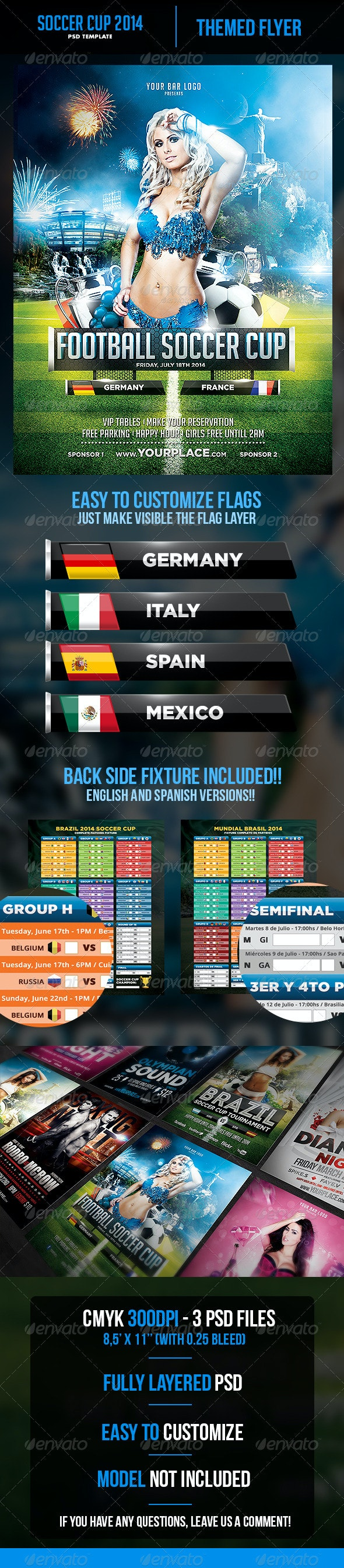 Soccer Cup 2014 Flyer with Fixture - Eng, Spa - Sports Events