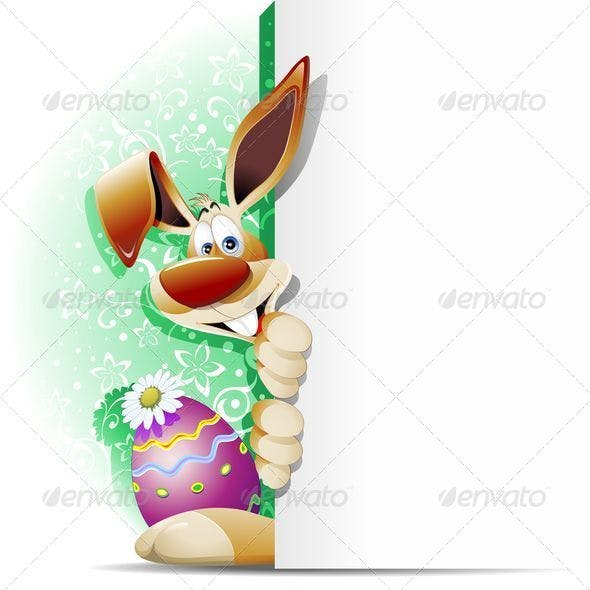 Easter Bunny Cartoon with White Panel